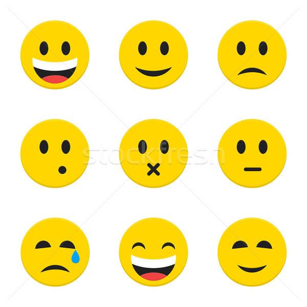 żółty twarze biały obiektów stylu Zdjęcia stock © Anna_leni