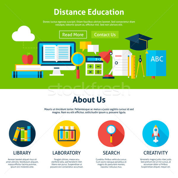 Distanza istruzione web design modello sito banner Foto d'archivio © Anna_leni