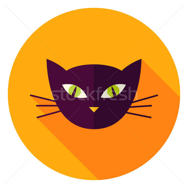 Night Cat Face Circle Icon Stock photo © Anna_leni