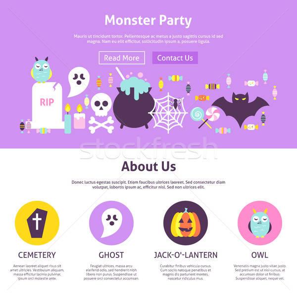 Monstre fête conception de site web style web bannière Photo stock © Anna_leni