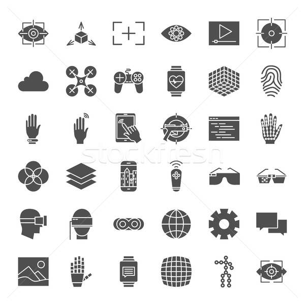 Virtual Reality Solid Web Icons Stock photo © Anna_leni