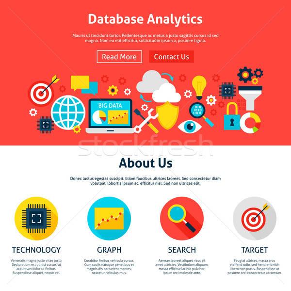 Base de données analytics conception de site web style web bannière Photo stock © Anna_leni