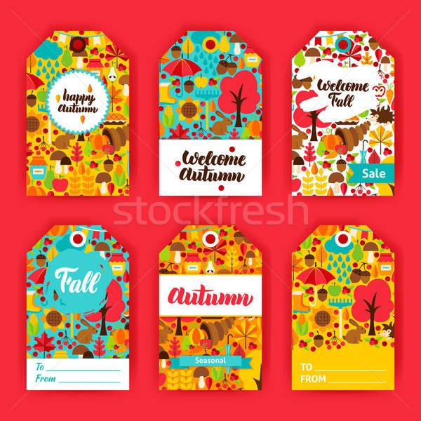 осень подарок Этикетки осень сезонный Знак Сток-фото © Anna_leni