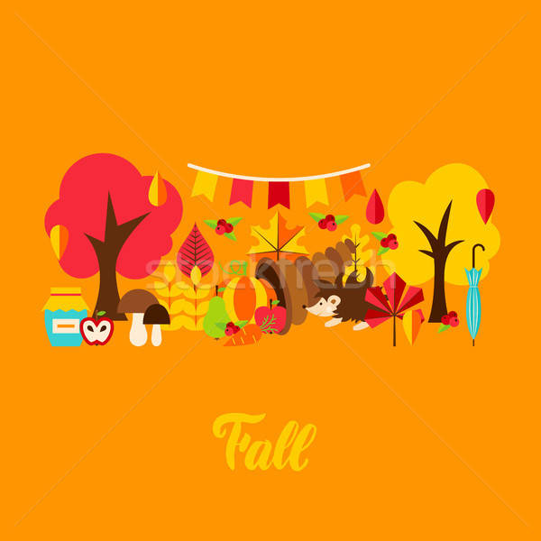 ősz üdvözlőlap ősz szezonális fa étel Stock fotó © Anna_leni