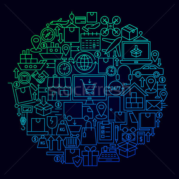 Logistics Delivery Icon Circle Concept Stock photo © Anna_leni