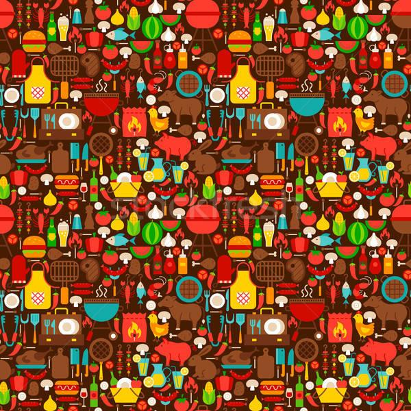 барбекю гриль барбекю вечеринка текстуры Сток-фото © Anna_leni