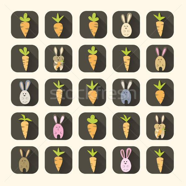 Easter carrots and rabbits icon set Stock photo © Anna_leni