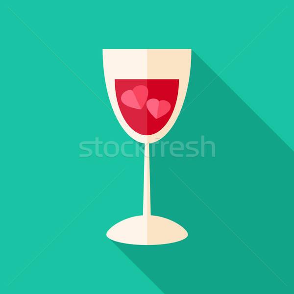 üveg kettő szívek stilizált tárgy hosszú Stock fotó © Anna_leni