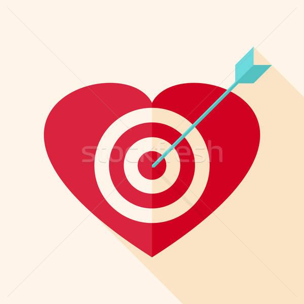 Foto stock: Coração · alvo · seta · estilizado · objeto · longo