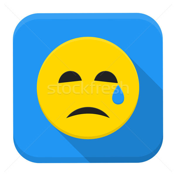 Crying yellow smile app icon with long shadow Stock photo © Anna_leni