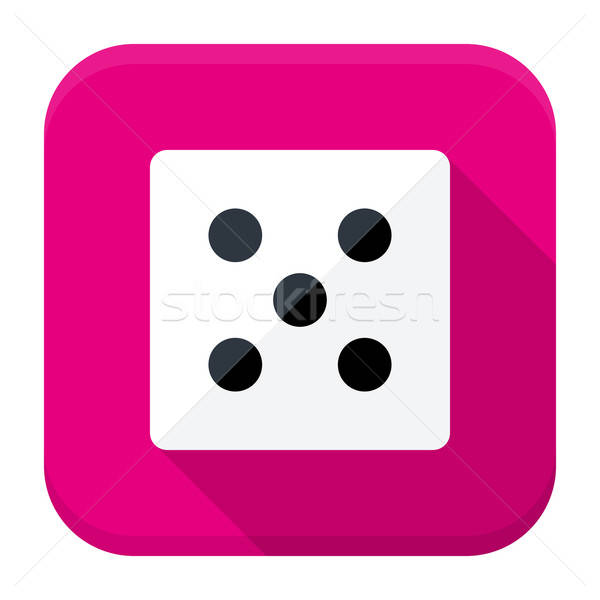 Game dice flat app icon with long shadow Stock photo © Anna_leni
