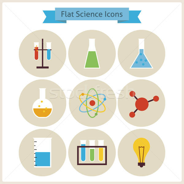 Flat School Chemistry and Science Icons Set. Stock photo © Anna_leni