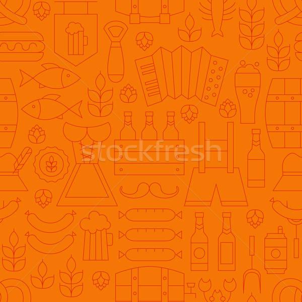 Subtire oktoberfest linie alcool bere portocaliu Imagine de stoc © Anna_leni