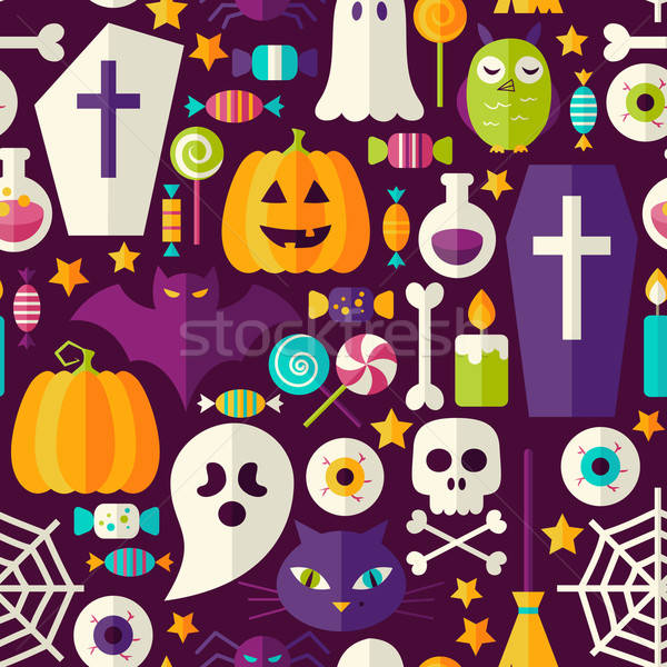 Flat Dark Halloween Party Seamless Pattern Stock photo © Anna_leni