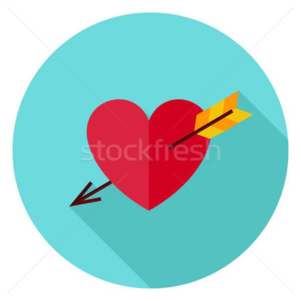 Amore cuore arrow cerchio icona design Foto d'archivio © Anna_leni