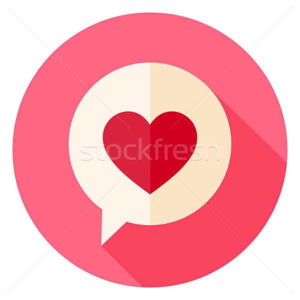 Stock photo: Love Heart Speech Bubble Circle Icon with long Shadow