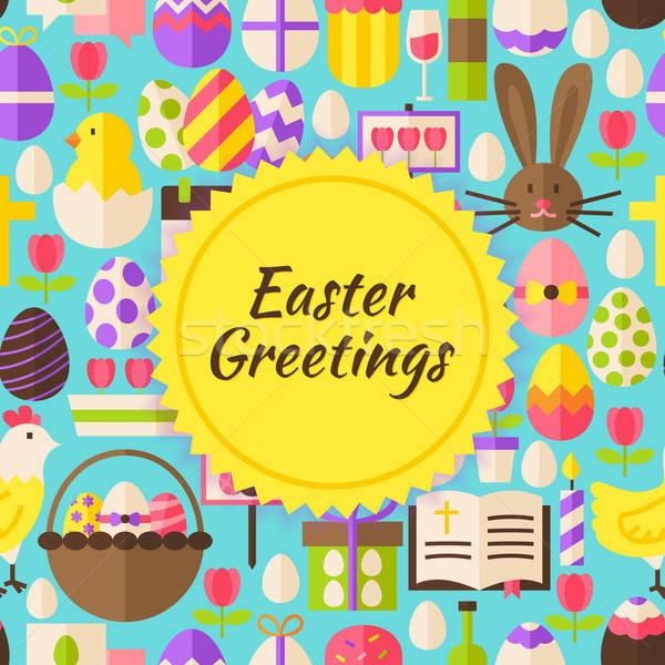 Vecteur joyeuses pâques style printemps religieux vacances Photo stock © Anna_leni