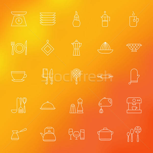 Kitchen Appliances and Cooking Line Icons Set over Blurred Backg Stock photo © Anna_leni