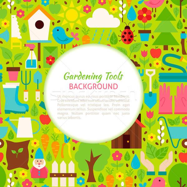 Flat Gardening Tools Vector Pattern Background Stock photo © Anna_leni