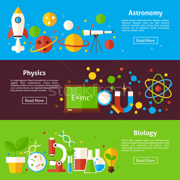 Astronomie physique biologie science horizontal bannières Photo stock © Anna_leni