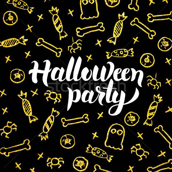 Stock fotó: Halloween · buli · arany · fekete · képeslap · szezonális