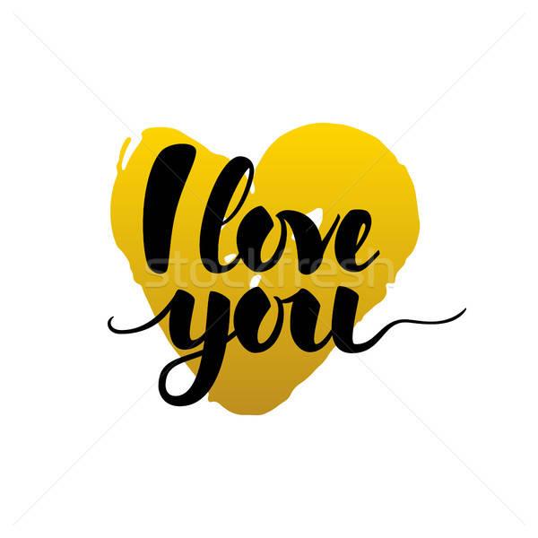 Amor caligrafia cartão valentine dia Foto stock © Anna_leni
