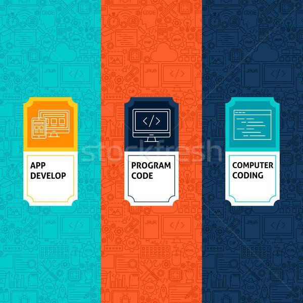 行 プログラミング パターン セット ロゴデザイン テンプレート ストックフォト © Anna_leni