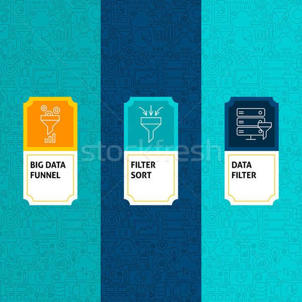 Line dati filtrare pacchetto etichette modello Foto d'archivio © Anna_leni