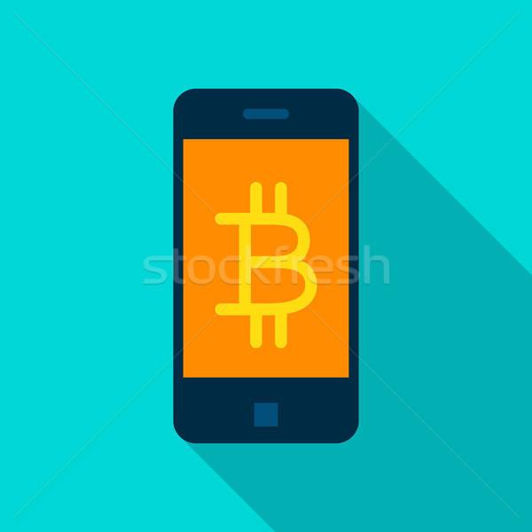 Foto d'archivio: Bitcoin · mobile · icona · lungo · ombra · soldi