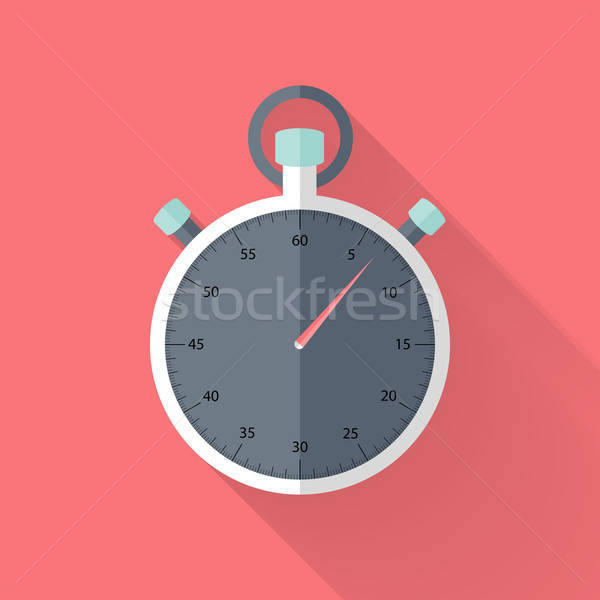 Stopwatch flat icon over pink Stock photo © Anna_leni