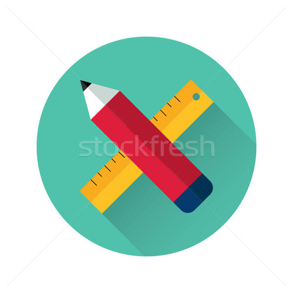 Ruler and pencil icon Stock photo © Anna_leni