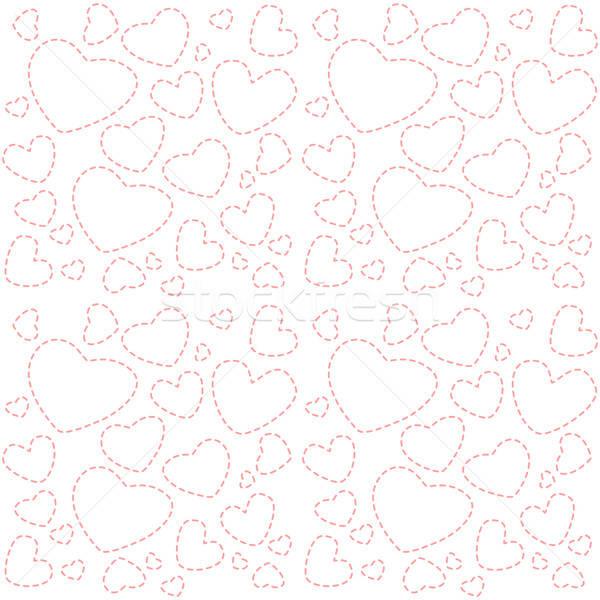 Cute белый бесшовный текстуры розовый сердцах Сток-фото © Anna_leni