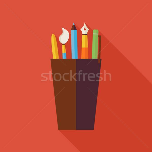Photo stock: Tasse · bureau · écrit · outils · illustration