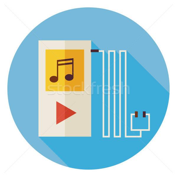 Elektronische technologie muziekspeler cirkel icon lang Stockfoto © Anna_leni