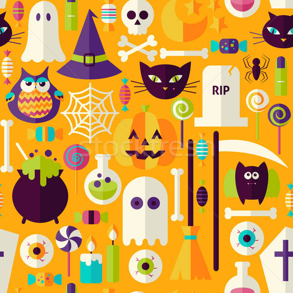 Flat Orange Halloween Trick or Treat Objects Seamless Pattern Stock photo © Anna_leni