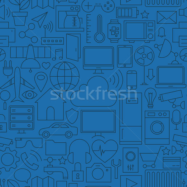 Thin Line Internet of Things Seamless Dark Blue Pattern Stock photo © Anna_leni