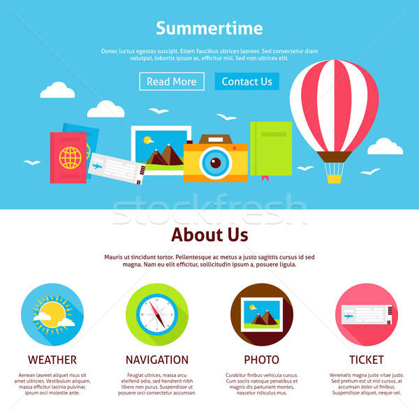 Summertime Flat Web Design Template Stock photo © Anna_leni