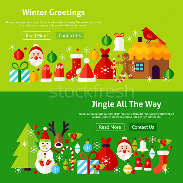 Winter Greetings Website Banners Stock photo © Anna_leni