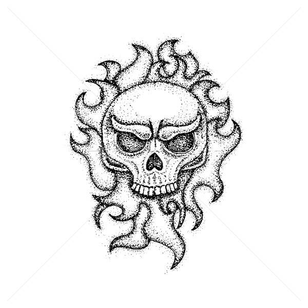 Dotwork Human Skull with Fire Stock photo © Anna_leni