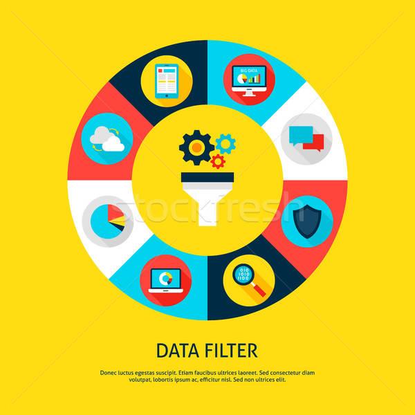 Veri filtre veritabanı infographics daire Stok fotoğraf © Anna_leni
