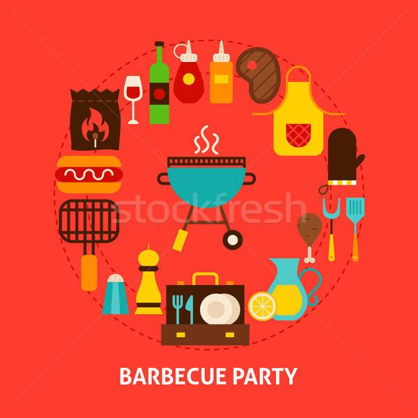 Barbecue fête carte postale affiche design ensemble Photo stock © Anna_leni