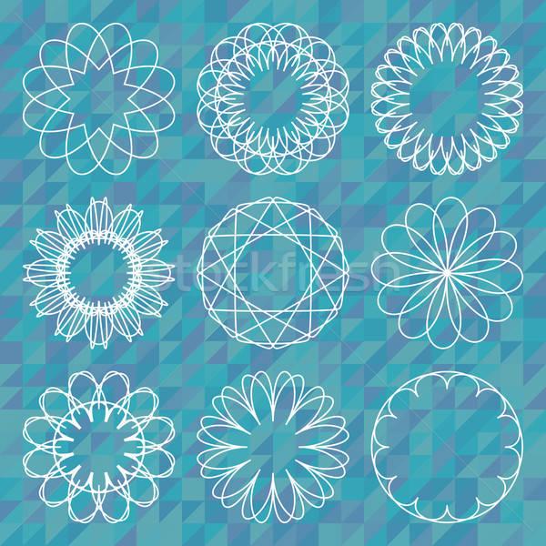 Spirograph round ornament set over polygonal background Stock photo © Anna_leni