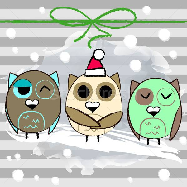 Christmas greeting card with owl and stripped background Stock photo © Anna_leni