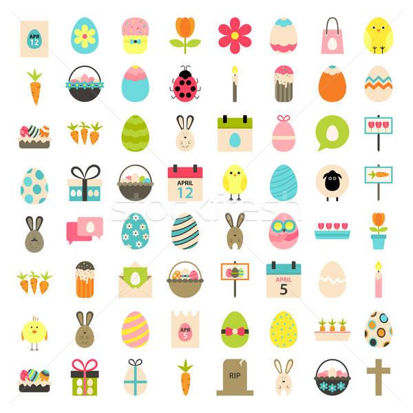 Easter big flat styled icons set over white Stock photo © Anna_leni