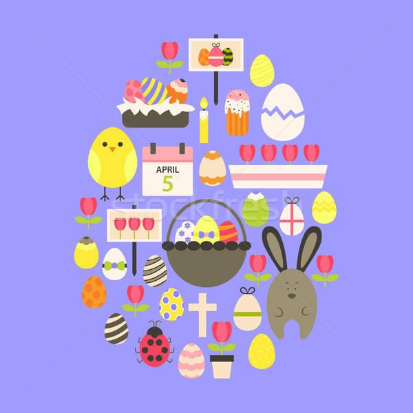 Easter Flat Icons Set Egg shaped over purple Stock photo © Anna_leni