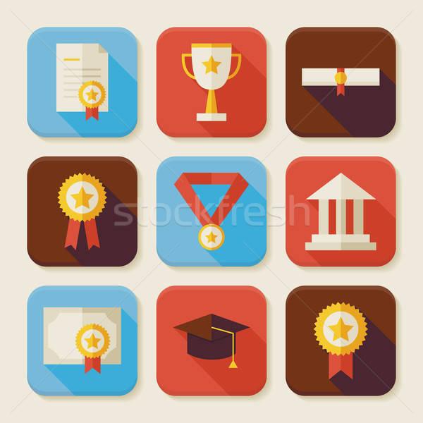 Flat Graduation and Success Squared App Icons Set Stock photo © Anna_leni