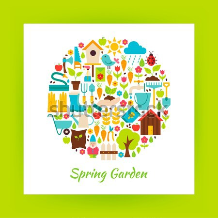 Nature Gardening and Environment Vector Flat Design Circle Shape Stock photo © Anna_leni