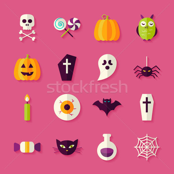 Flat Halloween Trick or Treat Objects Set with Shadow Stock photo © Anna_leni