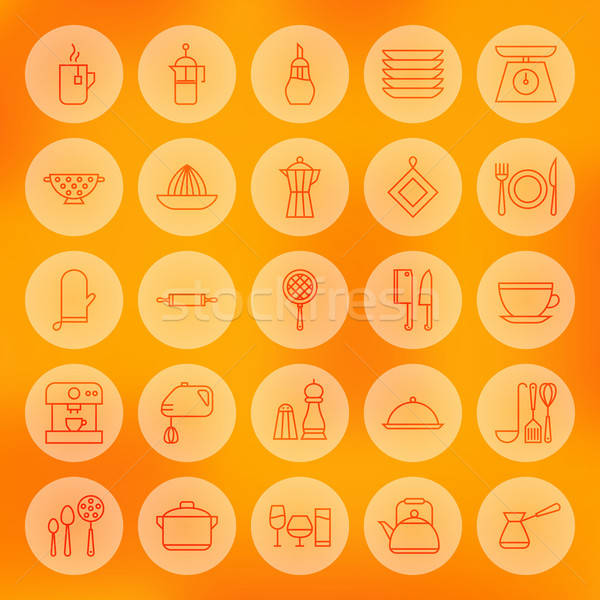 Line Circle Cooking Food and Utensil Icons Set Stock photo © Anna_leni