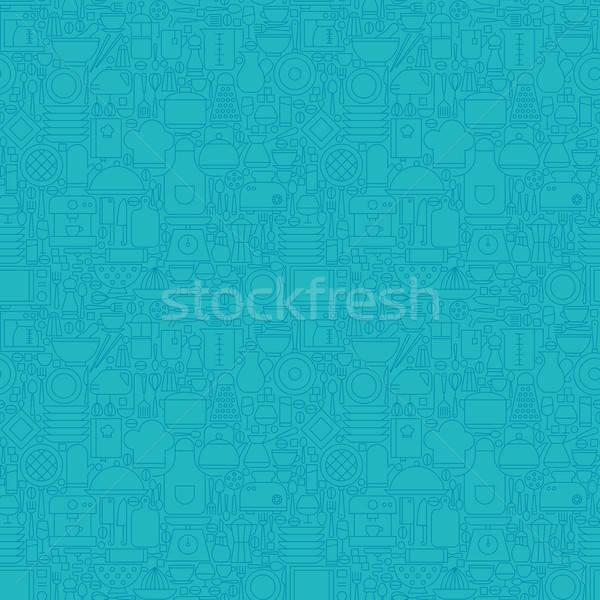 Cienki line niebieski sprzęt kuchenny gotowania Zdjęcia stock © Anna_leni